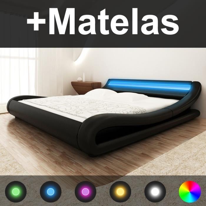 trouver lit 2 personnes led. Black Bedroom Furniture Sets. Home Design Ideas