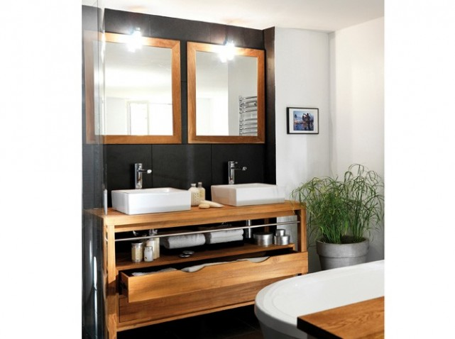 meuble bas salle de bain avec vasque a poser. Black Bedroom Furniture Sets. Home Design Ideas