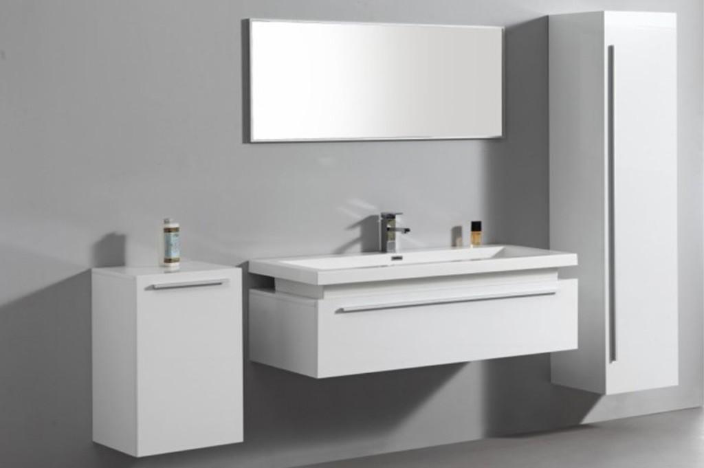 Meuble bas salle de bain laque blanc for Petit meuble blanc salle de bain