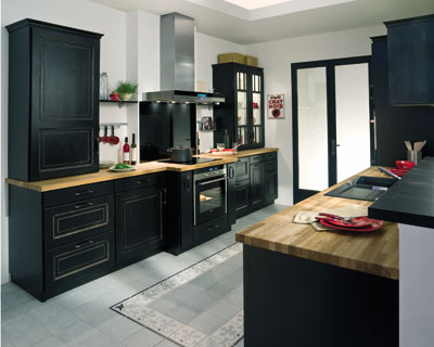 mod le meuble de cuisine noir. Black Bedroom Furniture Sets. Home Design Ideas