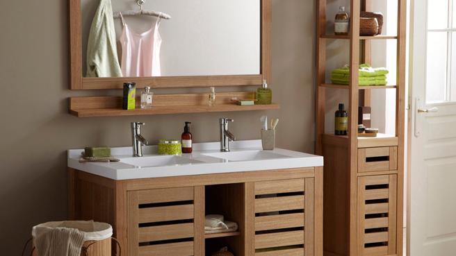 Meuble salle de bain zen pas cher for Meuble en bois salle de bain pas cher