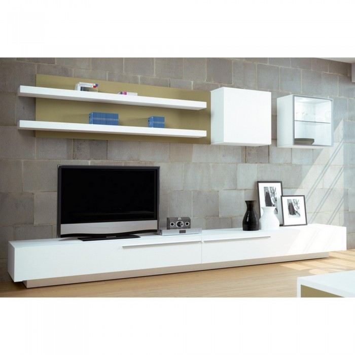 Meuble tv bas long for Meuble bas tv blanc