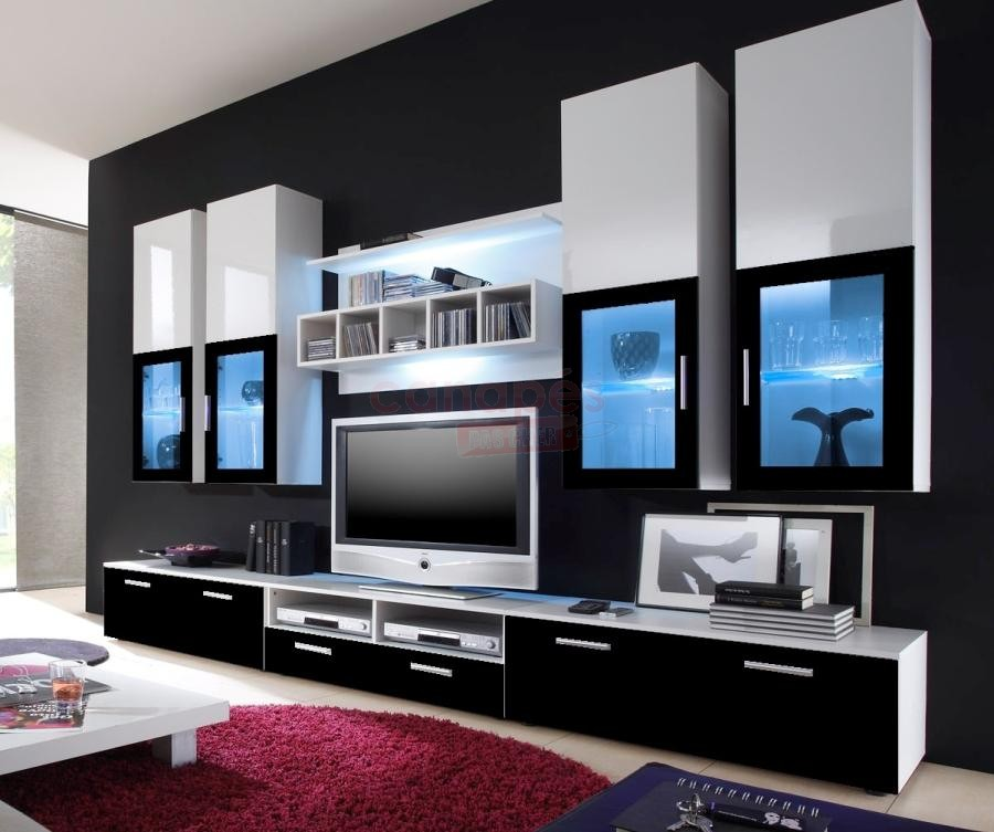 meuble tv haut moderne. Black Bedroom Furniture Sets. Home Design Ideas