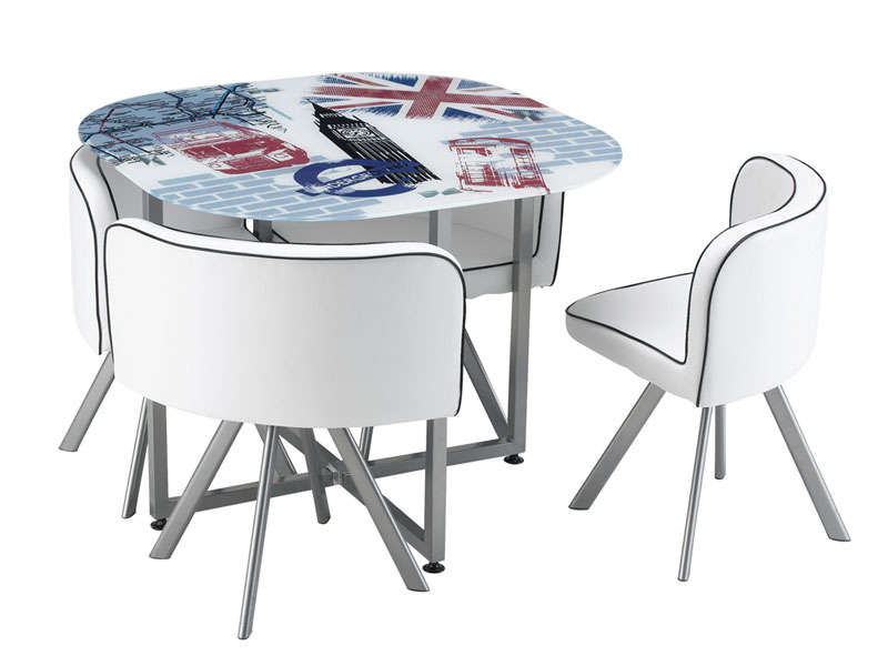 Table a manger new york 4 chaises - Table a manger avec chaise encastrable ...