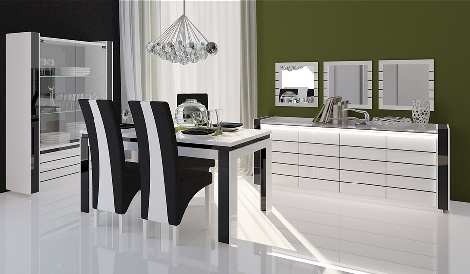 table a manger noir et blanc. Black Bedroom Furniture Sets. Home Design Ideas