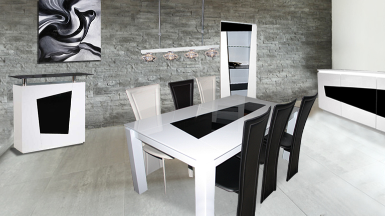 Sup rieur table noir et blanche 7 conforama table et for Table a manger noir