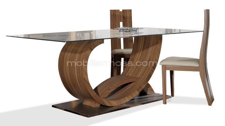 Table Verre Pied Bois Table a Manger Verre et Bois