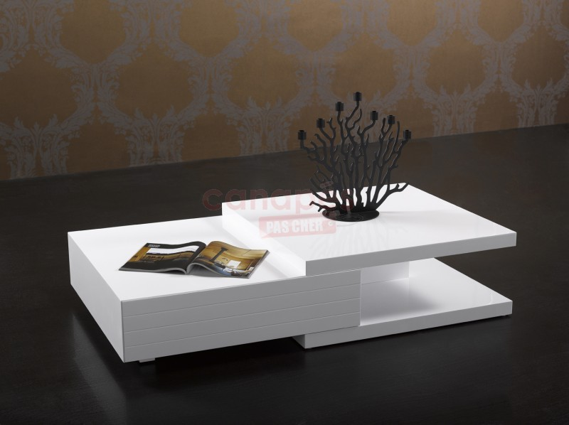 Table basse blanche pas cher for Table tv pas cher