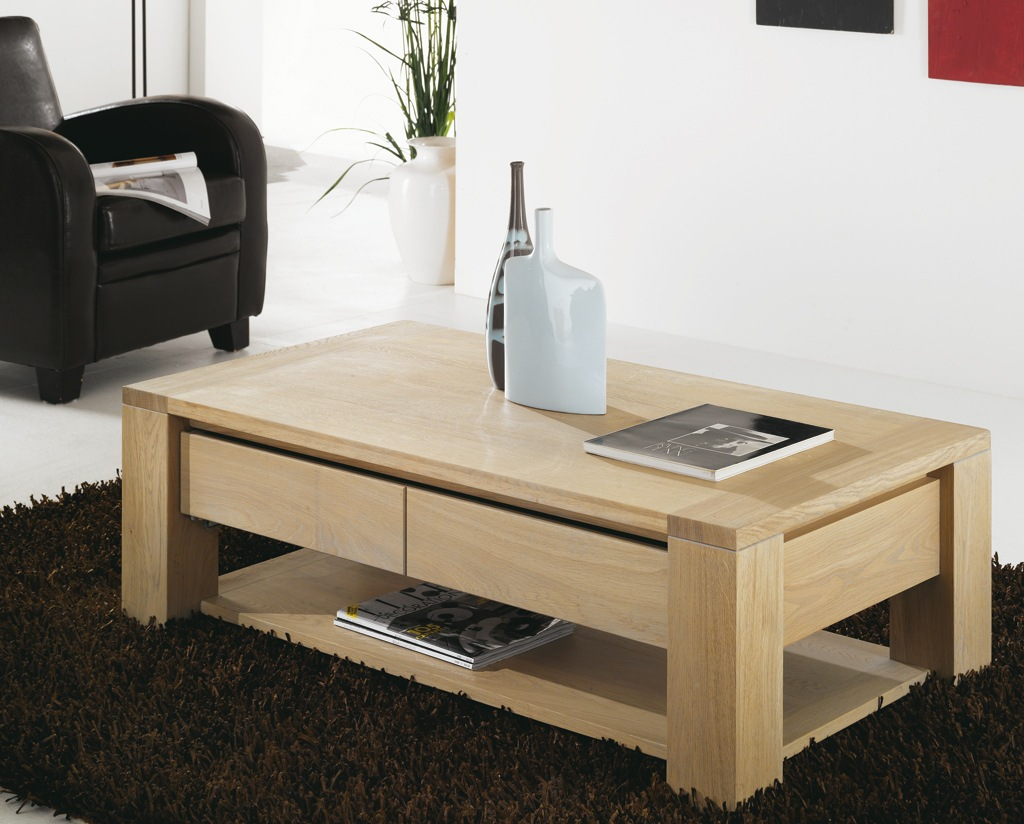 Mod le table basse bois for Table basse salon bois