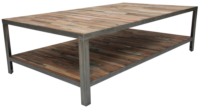 Table basse fer et bois for Table salon bois et fer