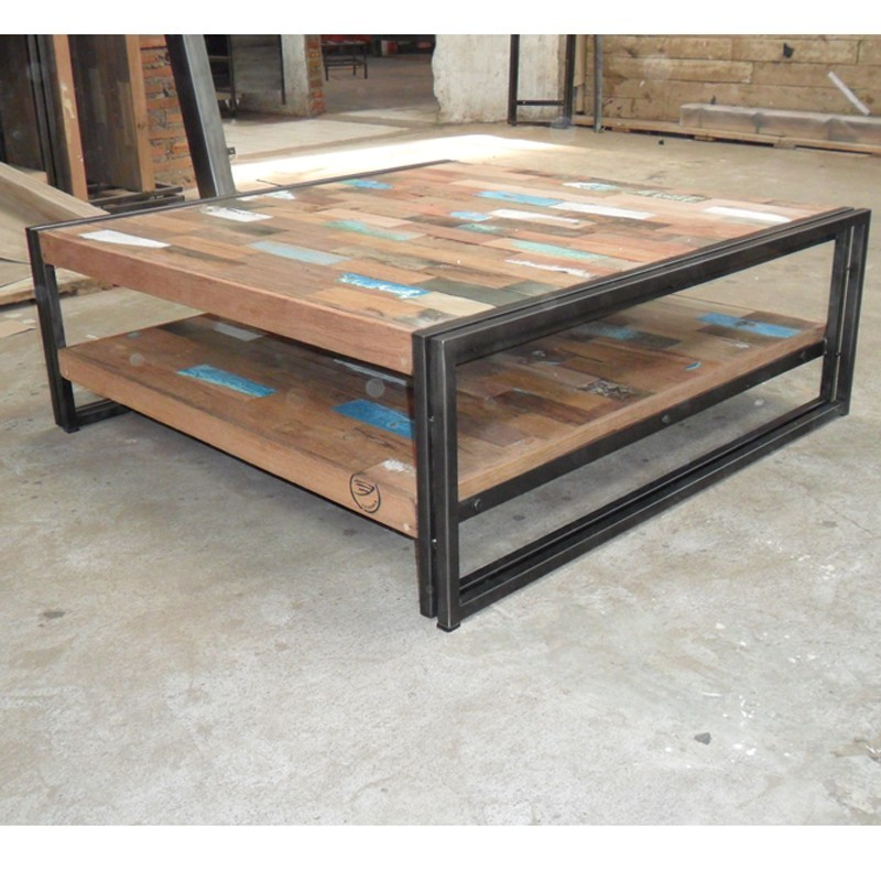 Table basse design renovee bois et fer - Table basse bois ...