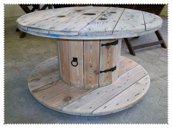 Touret Table De Jardin. Bobine Chantier Touret Bois Vintage Table ...