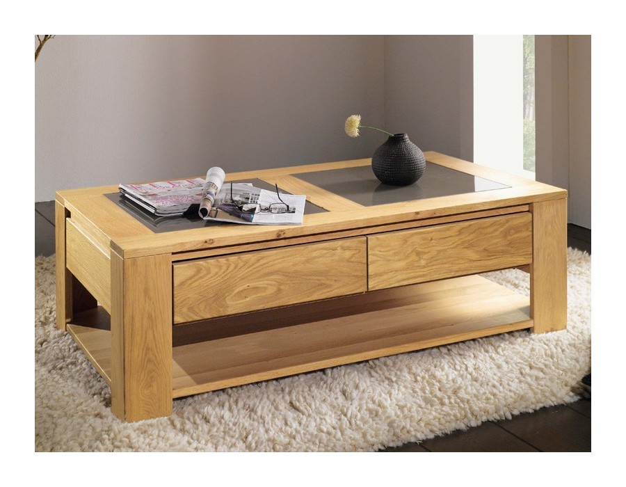 Table chene massif blanchi top table manger couleur chne for Table basse bois blanchi
