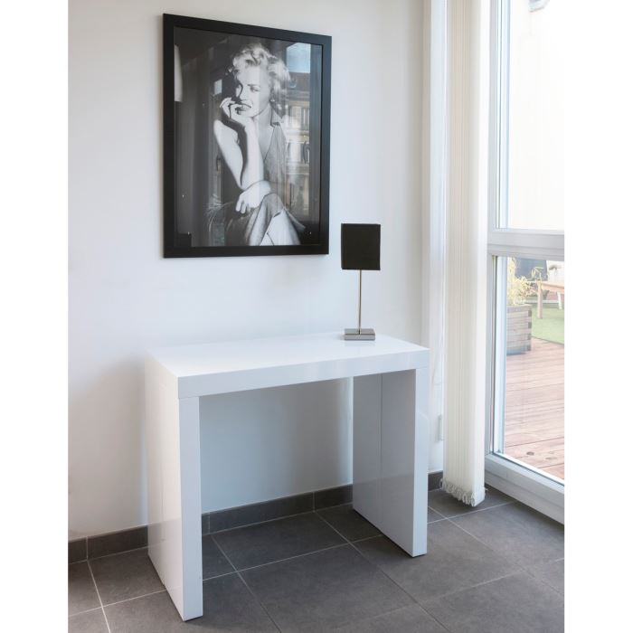 Table console extensible ikea images - Table extensible blanc laque ...