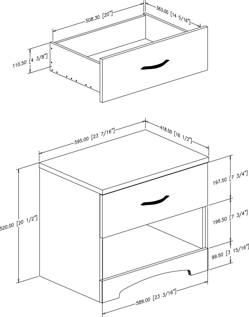 Table de chevet dimension for Hauteur table de chevet