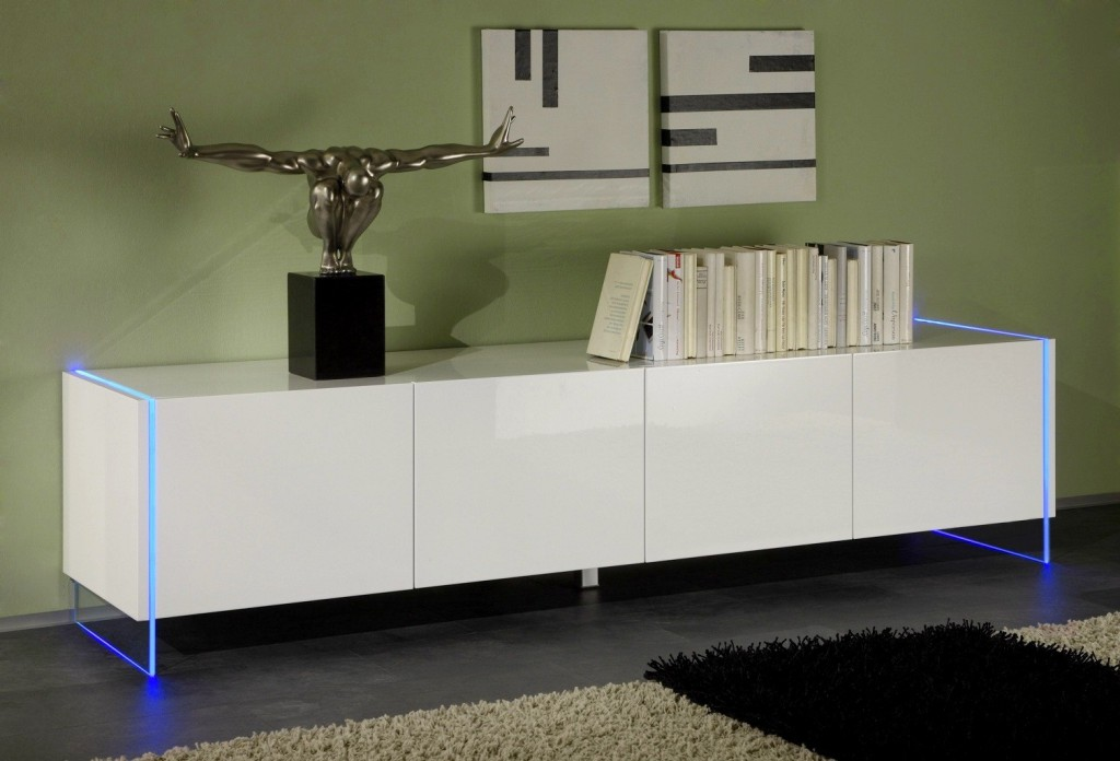 buffet bas laque blanc design. Black Bedroom Furniture Sets. Home Design Ideas
