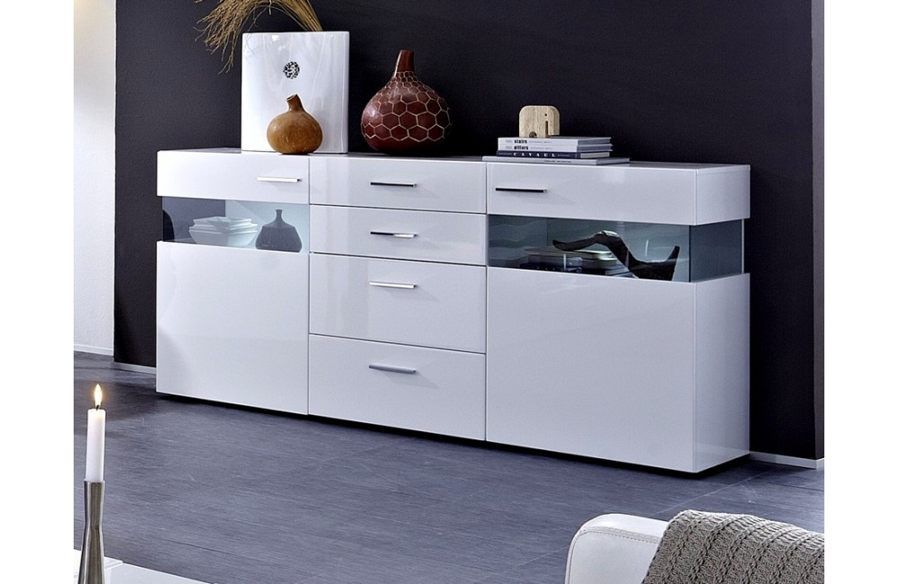 Visuel buffet bas laque blanc design for Meuble tv bas blanc laque