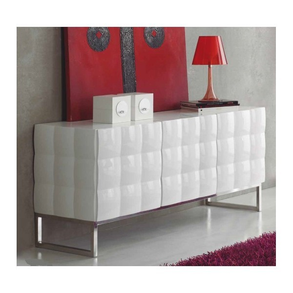 Buffet bas laque blanc design for Buffet bas design