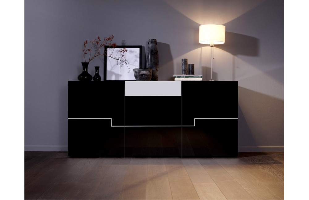 Buffet bas noir laque for Meuble bas salon design