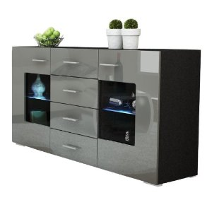 mobilier maison buffet de cuisine noir laque. Black Bedroom Furniture Sets. Home Design Ideas