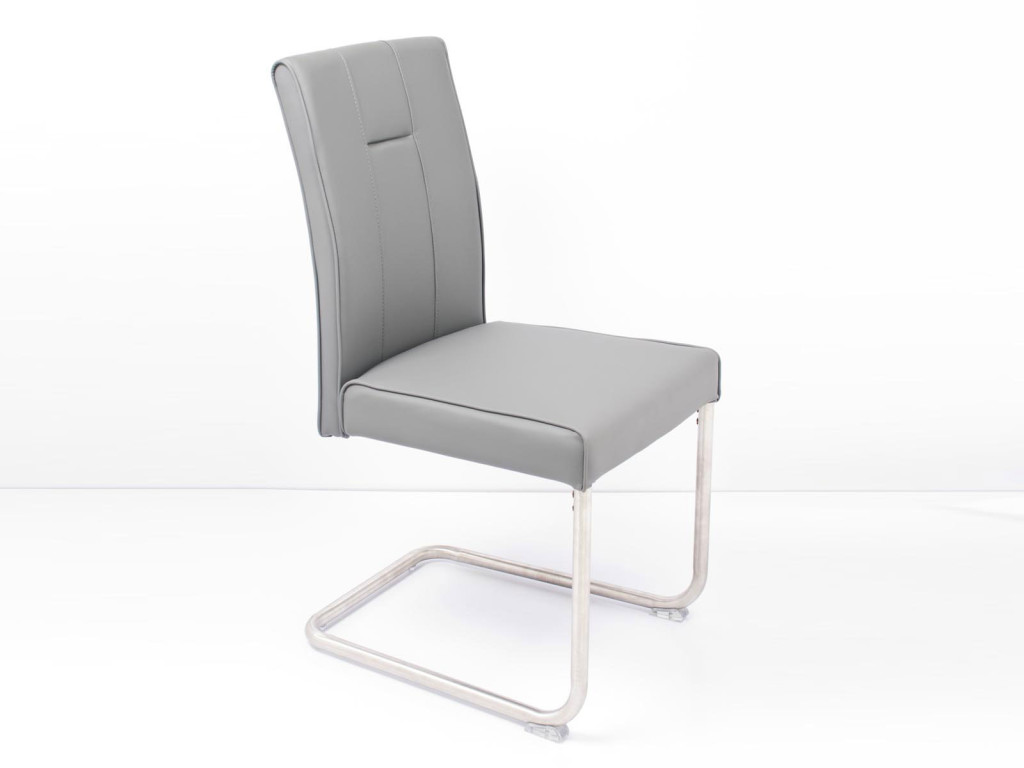 Chaise design grise for Chaise de salle a manger gris clair