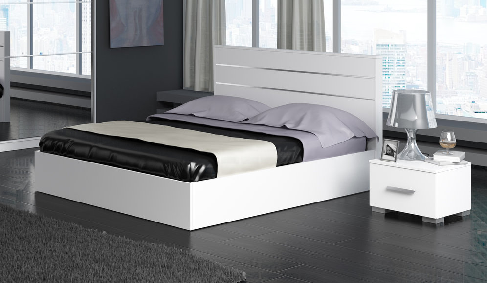 lit 2 personnes laque blanc brillant glosse. Black Bedroom Furniture Sets. Home Design Ideas
