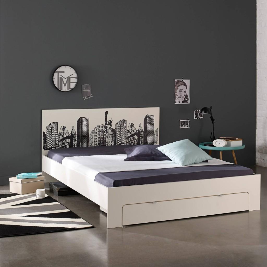 lit 2 personnes serigraphie new york avec tiroir