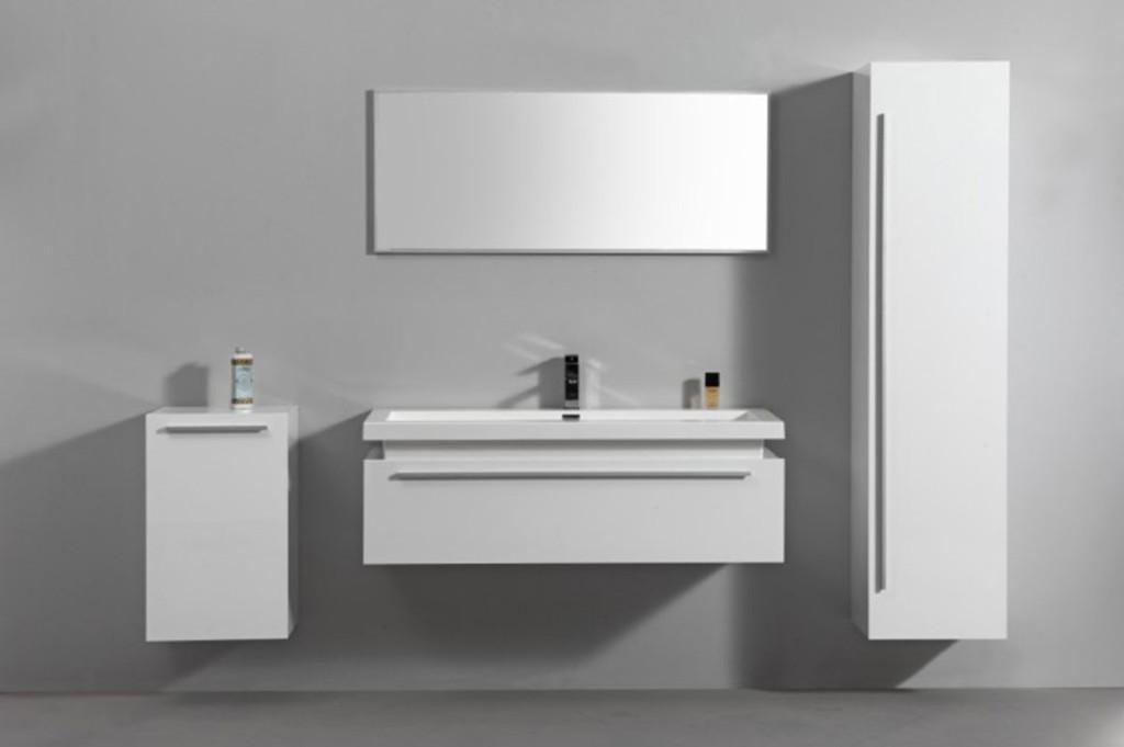Meuble salle de bain blanc laqu for Meuble de salle de bain blanc laque pas cher