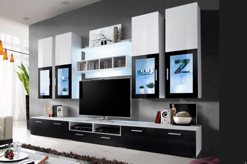 meuble tele bas laque noir. Black Bedroom Furniture Sets. Home Design Ideas