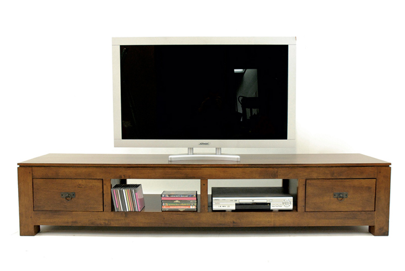 meuble tv bas en bois massif. Black Bedroom Furniture Sets. Home Design Ideas