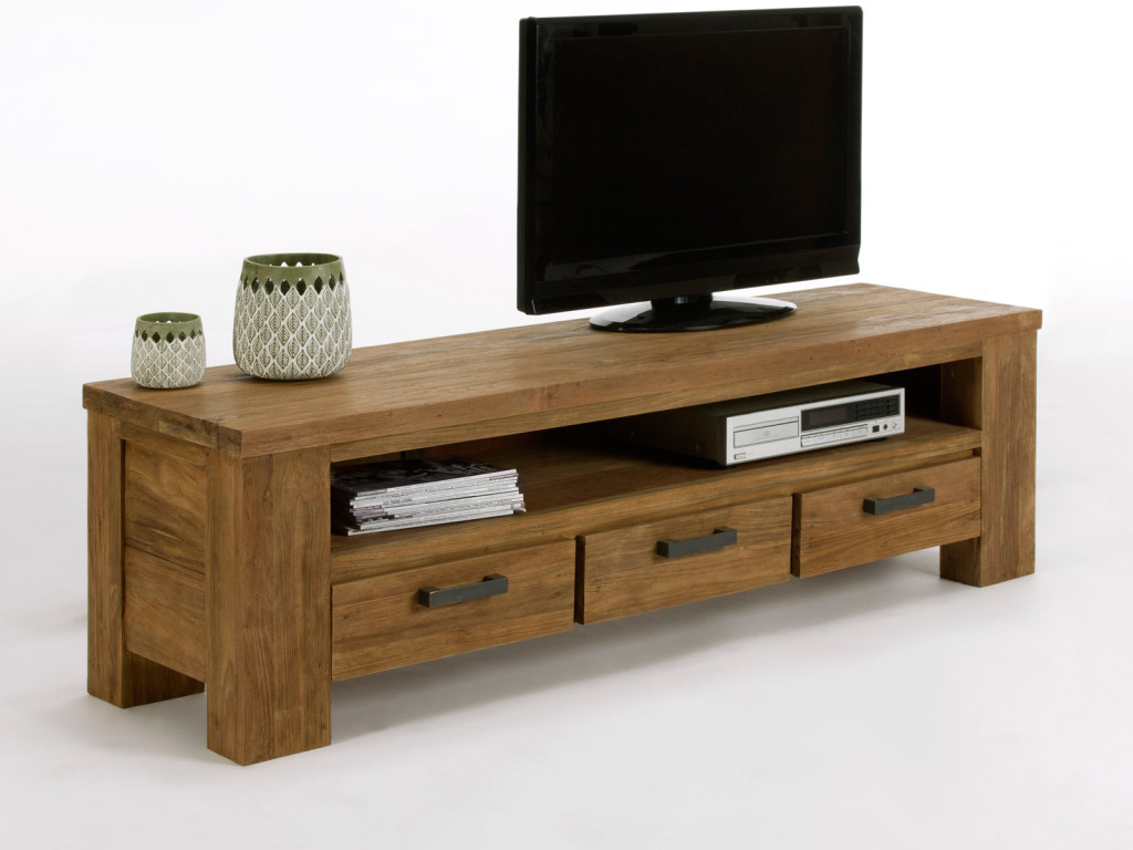 Meuble tv bois long id es de d coration et de mobilier for Long meuble tv