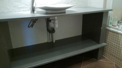 photo meuble vasque en beton cellulaire - Tuto Meuble Salle De Bain