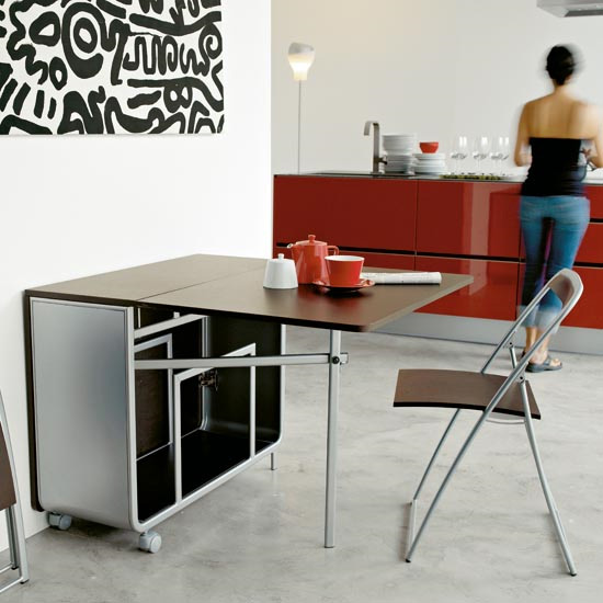 Table console avec chaise for Table pliante avec rangement chaise