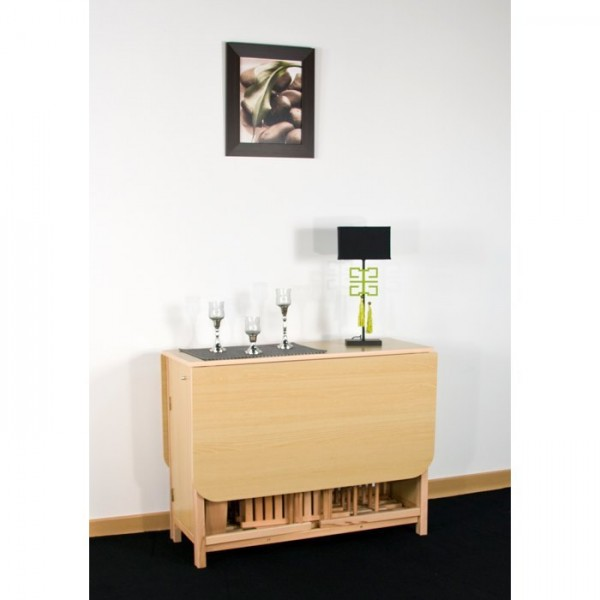 Photo table console avec chaise integree for Table pliante avec rangement