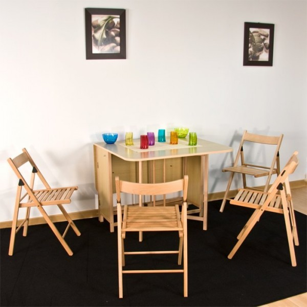 Table cuisine pliante 4 chaises int gr es meuble de for Meuble table integree