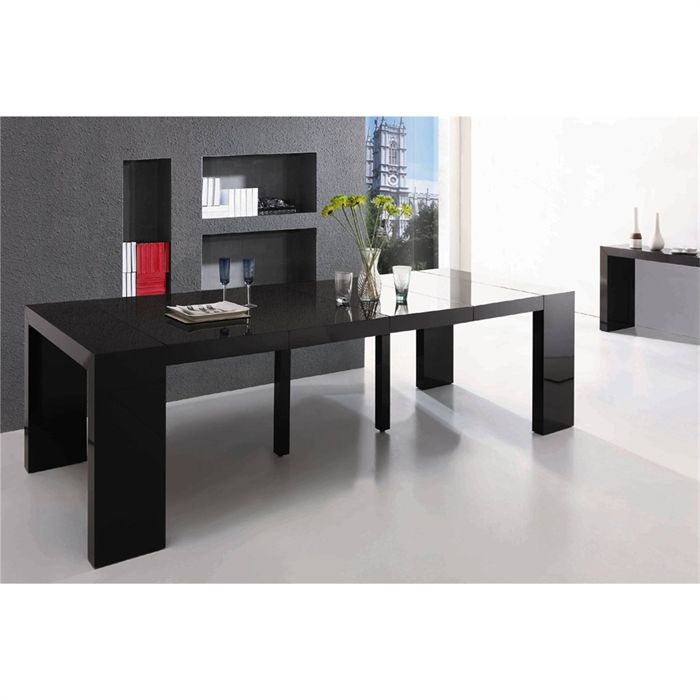 id e table console extensible ikea noir. Black Bedroom Furniture Sets. Home Design Ideas