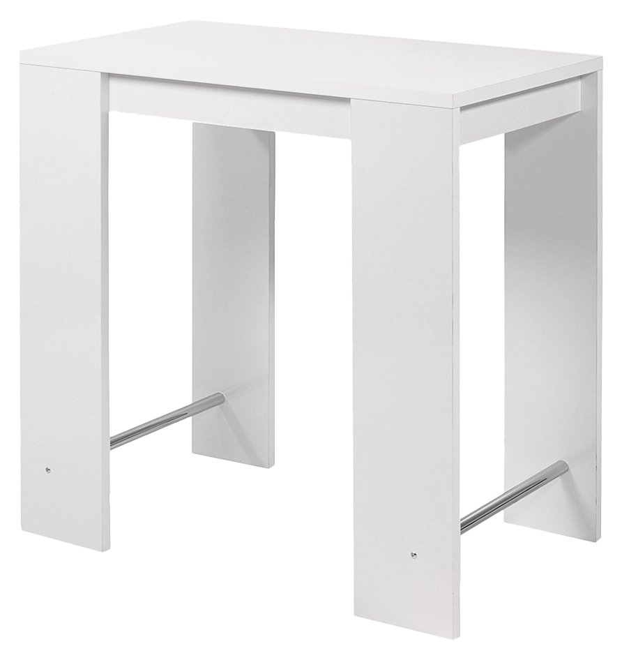 Table de bar design laquee blanche voka for Table bar blanche