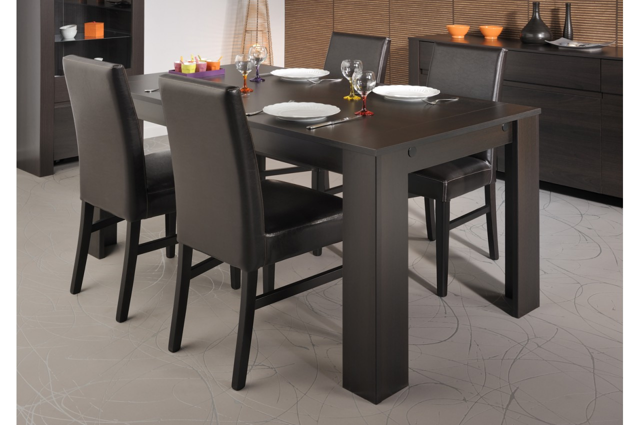 table a manger wenge et verre. Black Bedroom Furniture Sets. Home Design Ideas