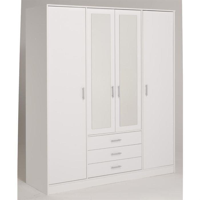 armoire de chambre blanche armoire 2 portes miroir 180cm armoire chambre adulte laqu blanc. Black Bedroom Furniture Sets. Home Design Ideas