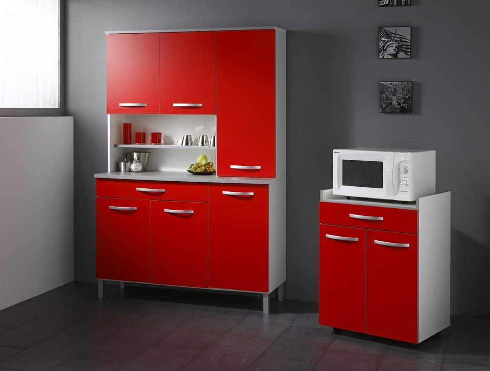 Buffet de cuisine rouge but for Meuble salon rouge
