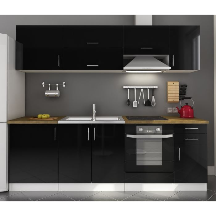 meuble de cuisine noir laque. Black Bedroom Furniture Sets. Home Design Ideas