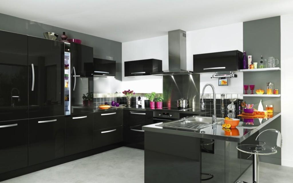 meuble de cuisine noir laque