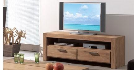 Meuble tv bas bois exotique for Modele meuble tv