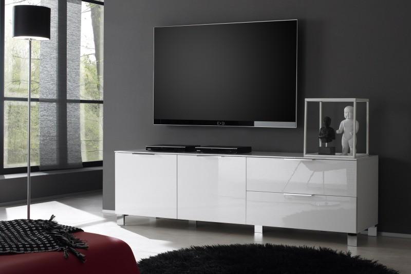 Meuble tv bas design blanc laque cocon - Meuble bas laque blanc ...