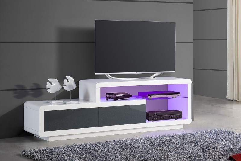 Meuble tv bas design blanc laque cocon for Meuble bas tv blanc