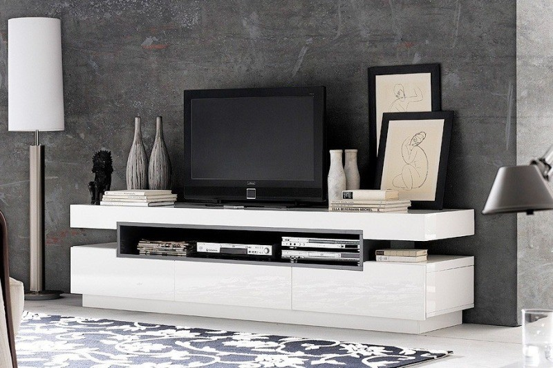 Meuble tv bas design blanc laque cocon for Meuble tv bas blanc