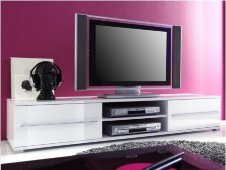 Meuble tv bas design blanc laque cocon for Long meuble tv