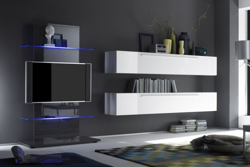 Meuble tv bas design blanc laque cocon - Meuble bas design salon ...
