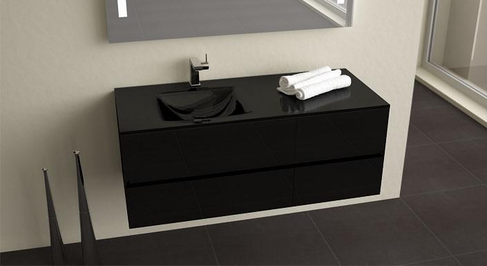 beautiful salle de bain vasque noire de design photos et ides - Meuble Salle De Bain Noir Laque