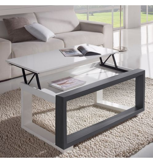 Table basse plateau relevable for Table basse avec plateau relevable